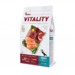 VITALITY dog puppy small/medium duck & fish